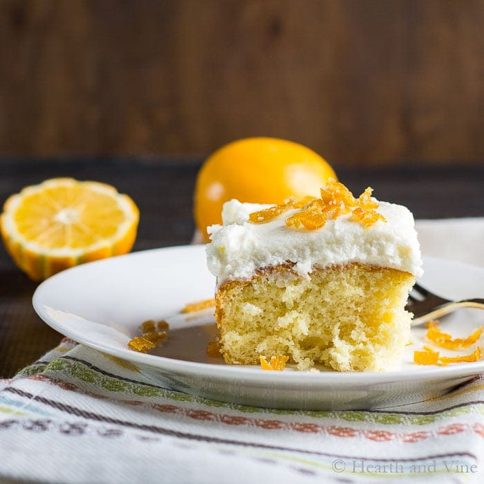 Meyer Lemon Cake with Homemade Candied Peel Topping