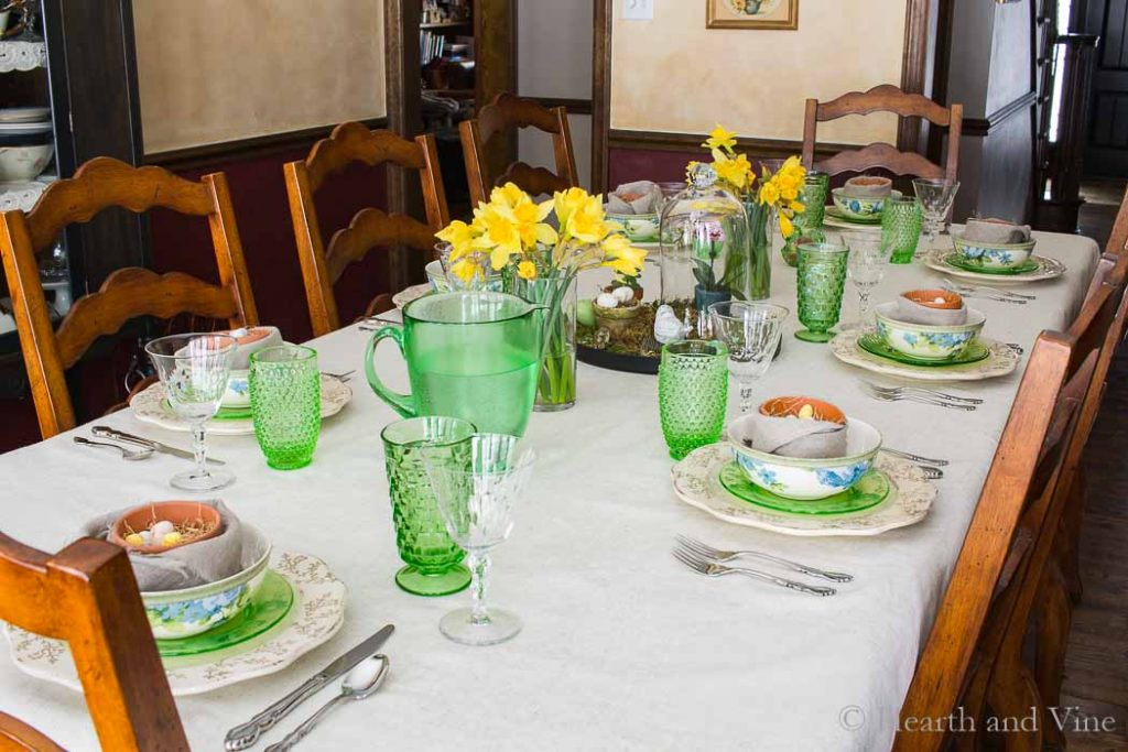 Spring tablescape full view.