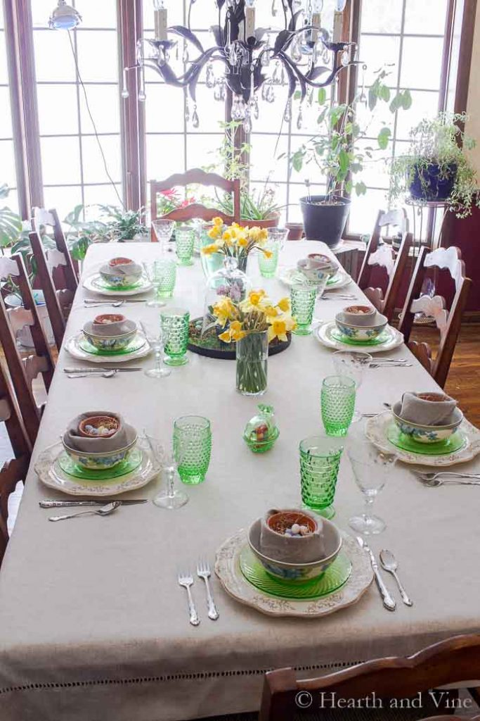 Full view of spring tablescape from above.