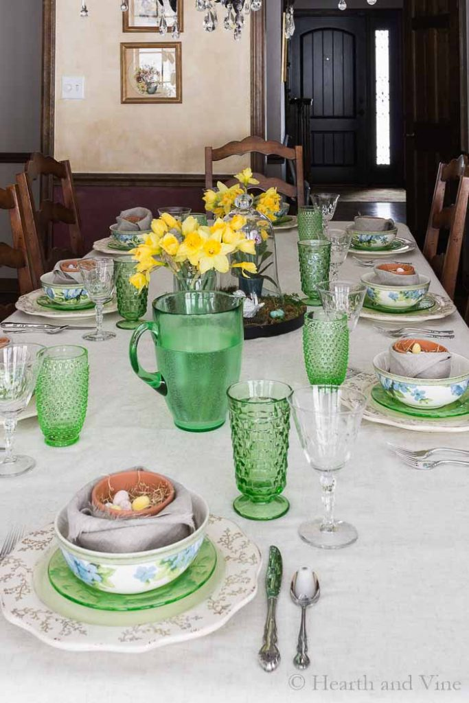 View of Easter table set from window.