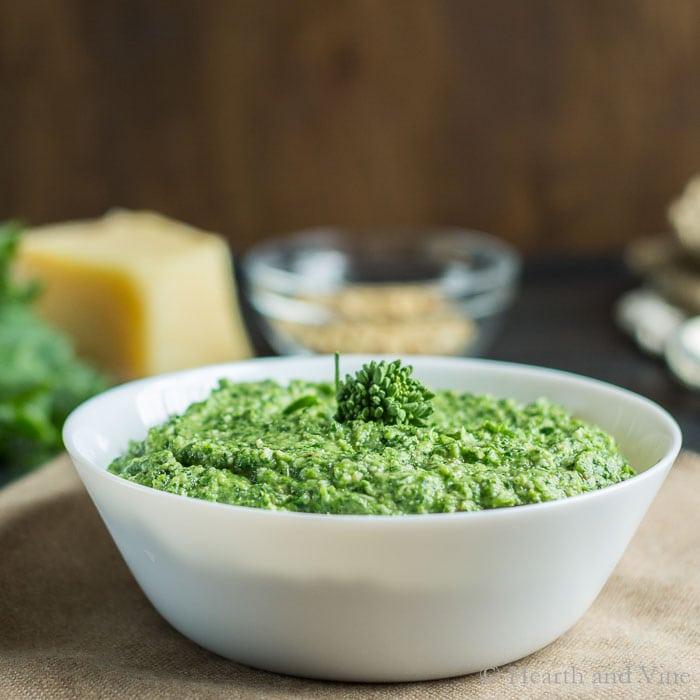 Broccoli rabe pesto in bowl
