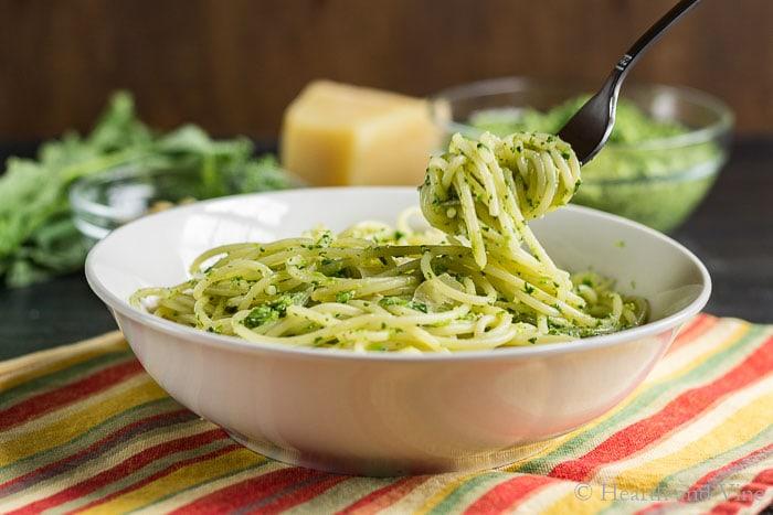 Broccoli rabe pesto on pasta