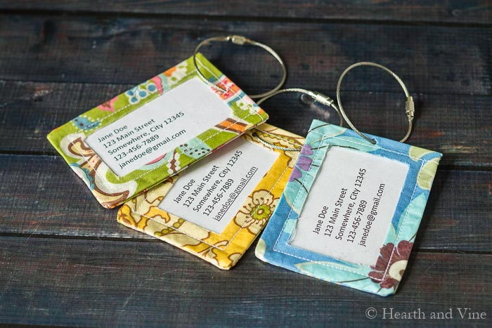 DIY luggage tags trio