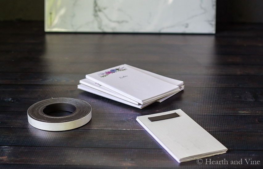 DIY notepads with magnetic tape