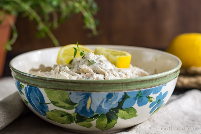 Bowl of lemon chicken salad