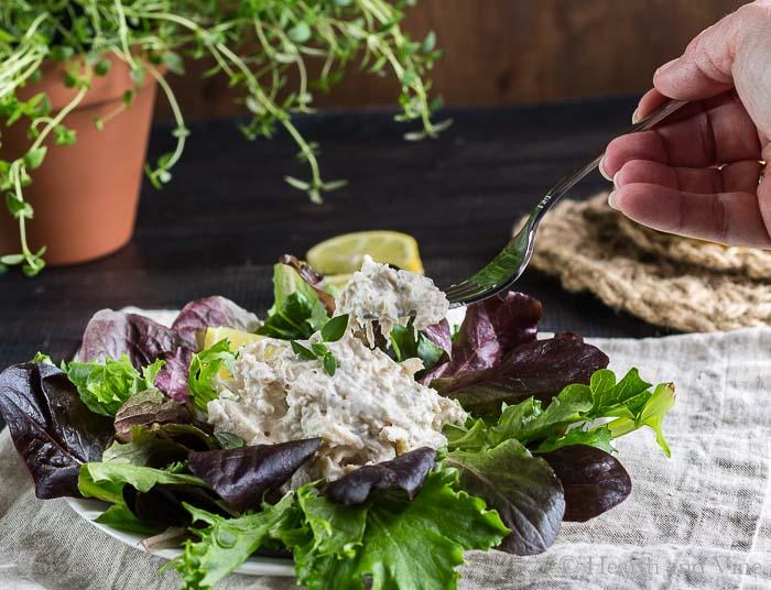 Lemon chicken salad on a bed of lettuce