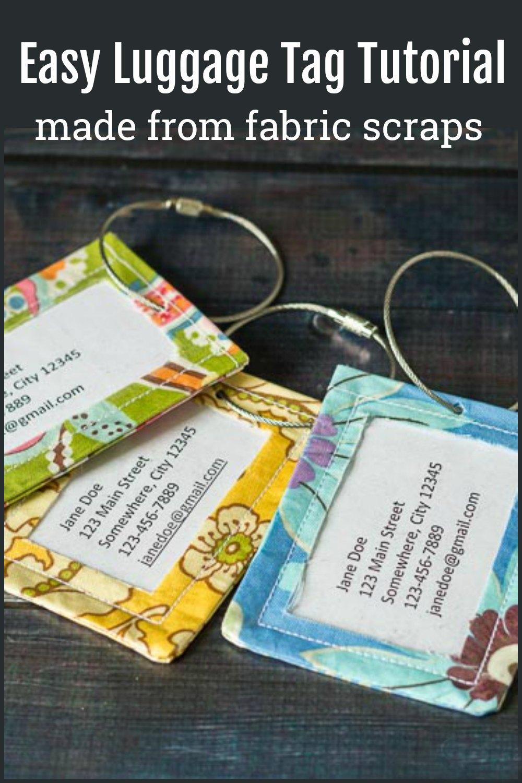 Three handmade luggage tags