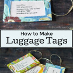 One fabric luggage tag in aqua print over a set of three tags in green, yellow and aqua