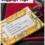 Yellow print handmade luggage tag on suitcase