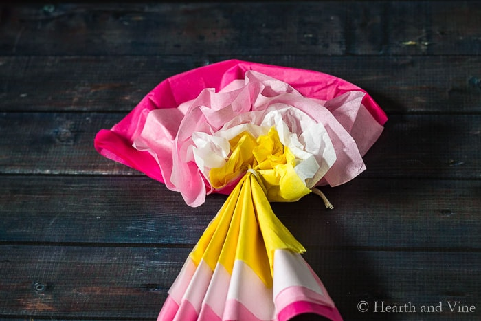 Starting the paper flower process