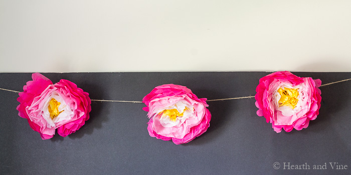 Paper flower garland inside.