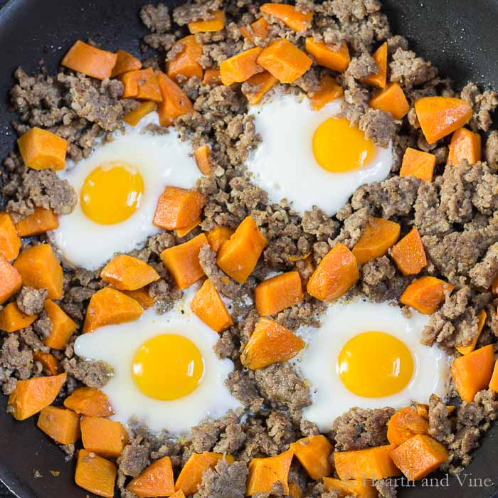 Sweet potato sausage egg fry up close