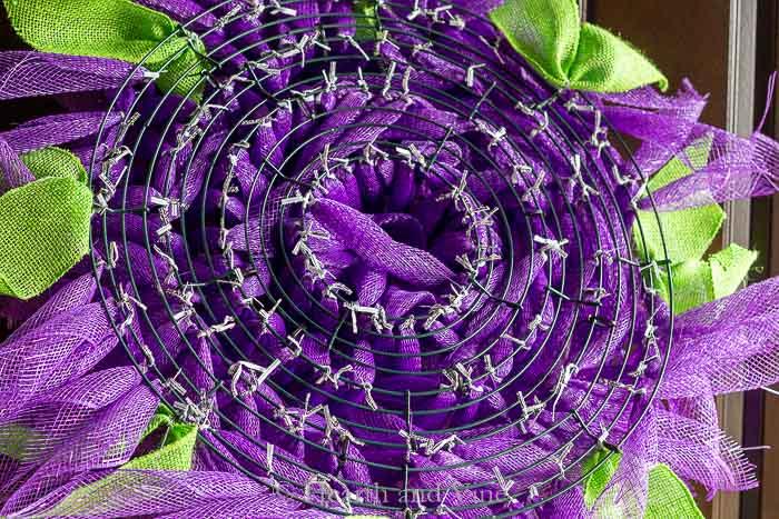 Back of deco mesh wreath