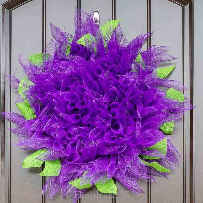 Purple dahlia deco mesh wreath