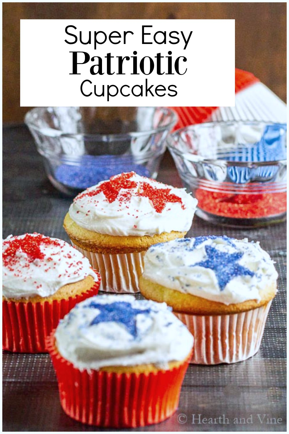 Cupcakes with red and blue stars
