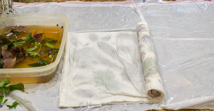 Rolling fabric and leaves