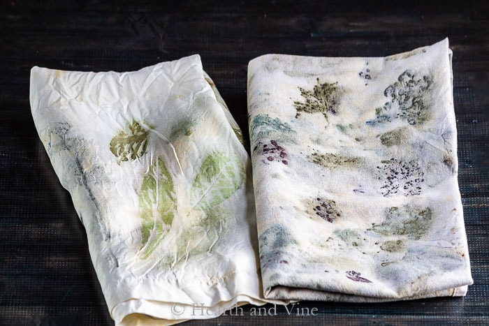 Eco printing on silk and cotton fabrics