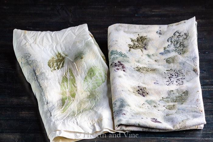 Eco printing on silk and cotton fabrics