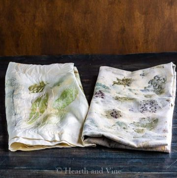 Eco printing on silk and cotton.