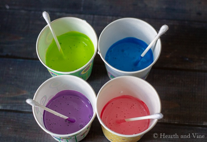 Cups of colored glue