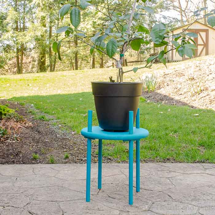 Outdoor wooden plant stand on patio