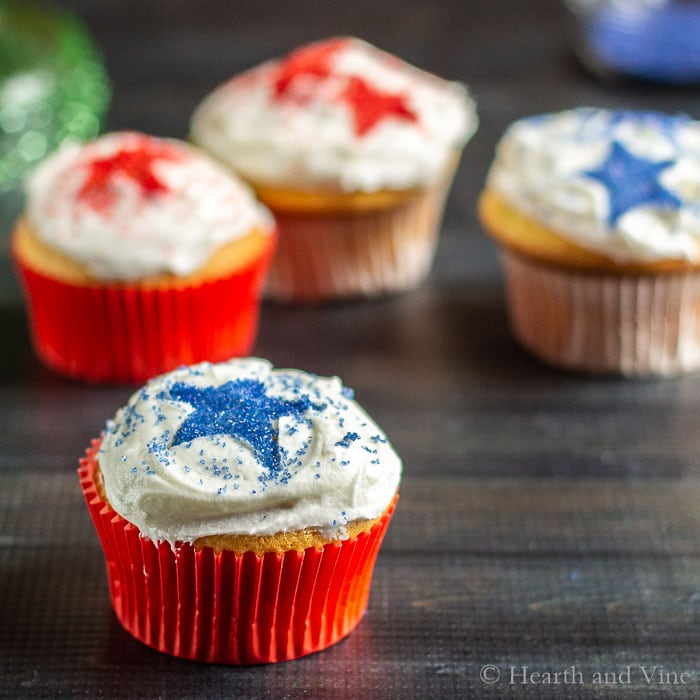 Cupcakes decorated in red and blue stars