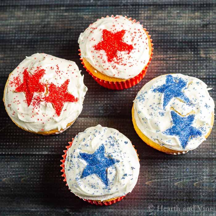 Four patriotic cupcakes