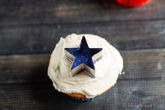 Star cutter cutter on cupcake