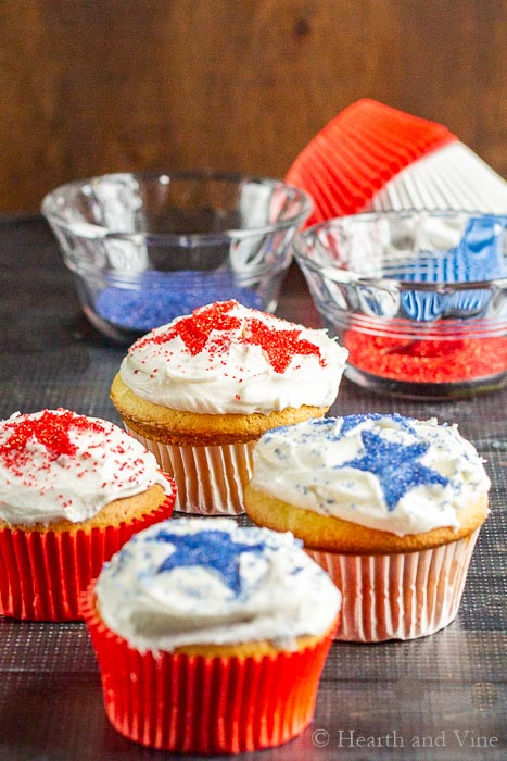 Grouping of red white and blue cupcakes