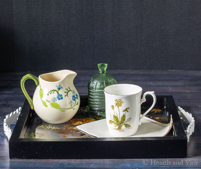 Pressed flower resin tray set for tea
