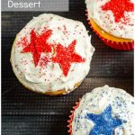 Cupcakes with red and blue stars and text overlay