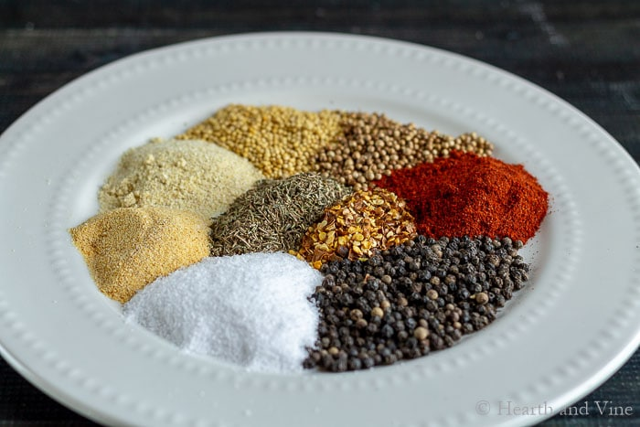 Spices on a dish.