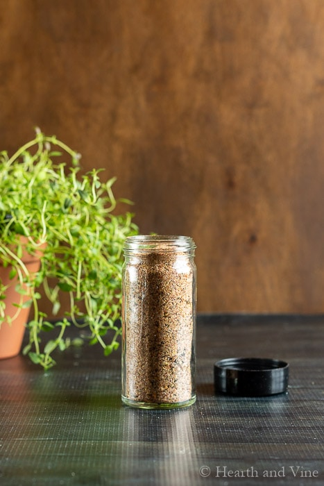Spice bottle with homemade steak seasoning