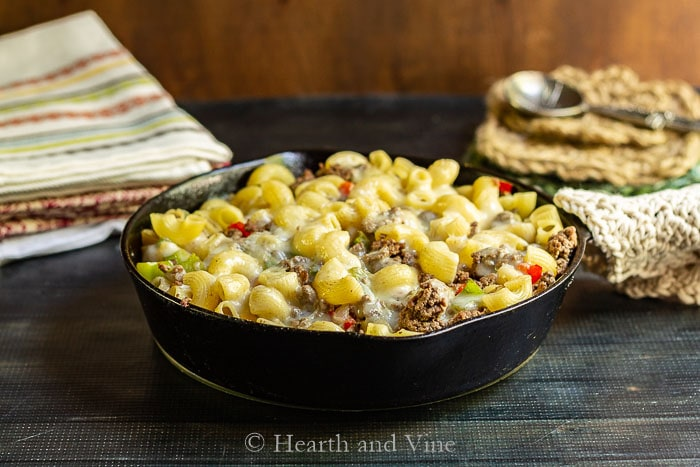 Cast iron skillet Philly cheese steak pasta