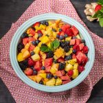 Fruit salad with ginger lime and mint dressing