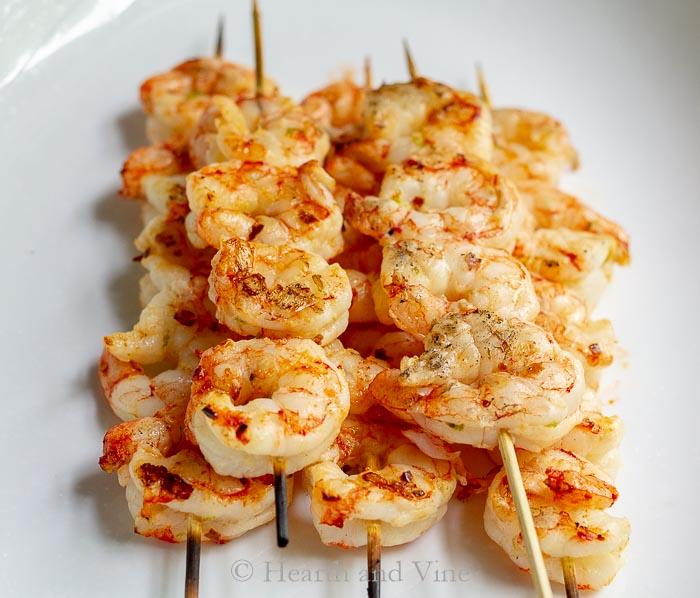 Grilled ginger lime shrimp skewers
