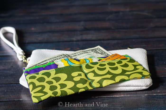 Open mini fabric wallet on wristlet