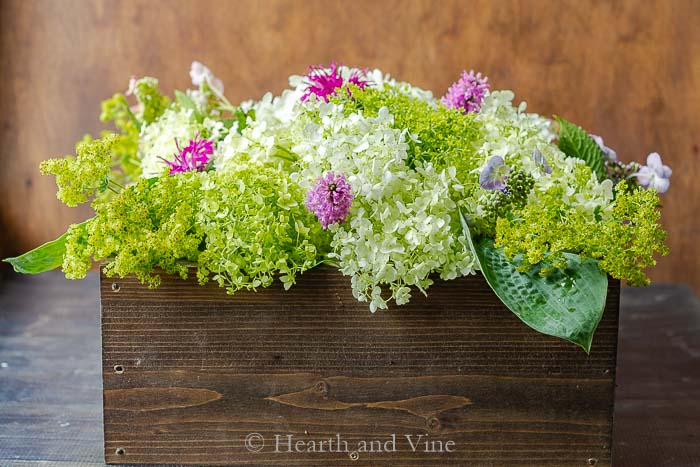 Wooden box centerpiece with flowers