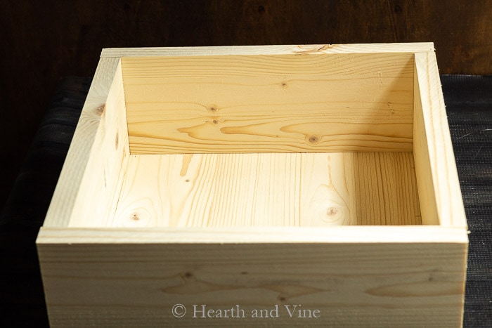 Constructed pine box for centerpiece