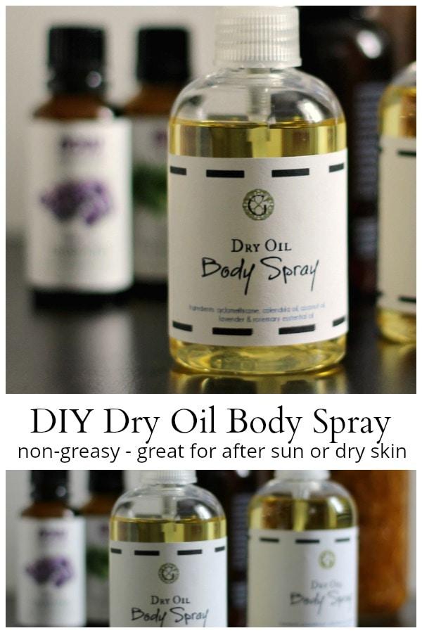 Dry oil body spray