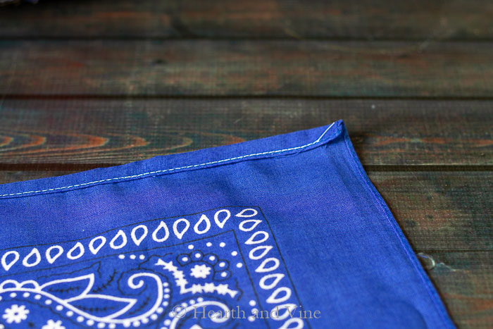 Sewn edge of bandana