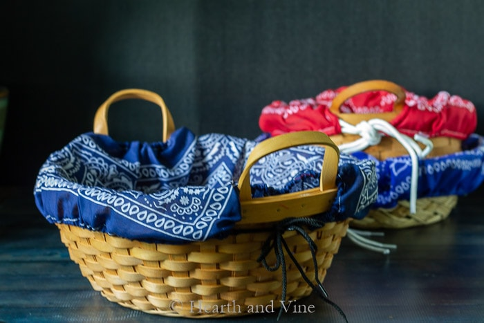 Navy bandana basket liner in large handled basket