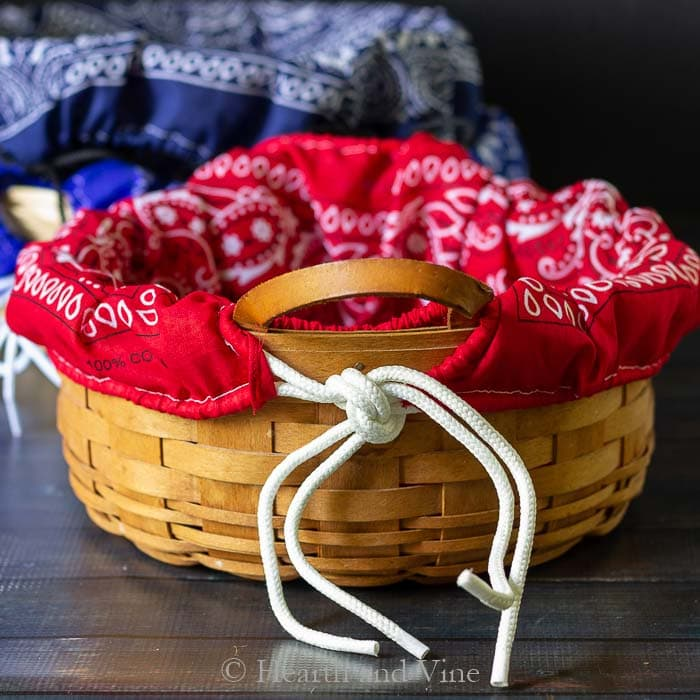 Red bandana basket liners