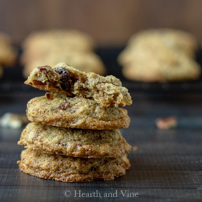 Healthy breakfast cookies stacked