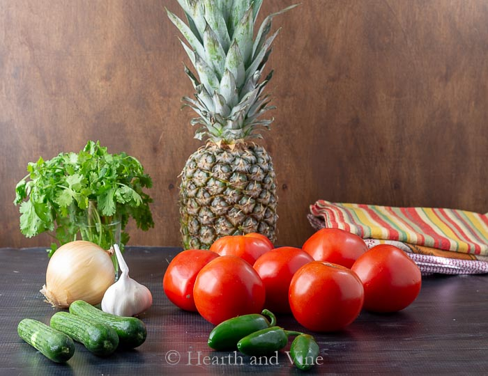 Fresh tomato pineapple salsa ingredients