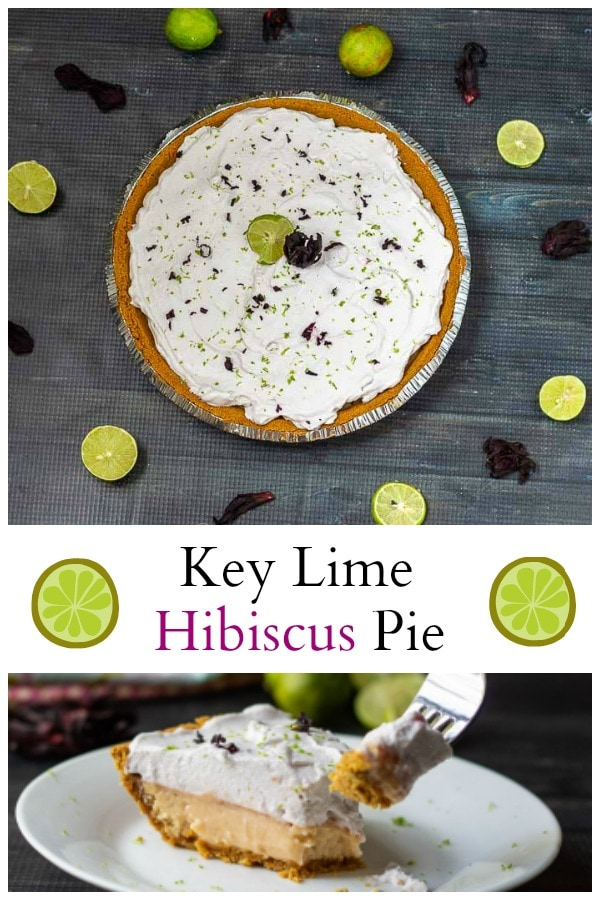 Collage of key lime hibiscus tart. Whole pie and slice.