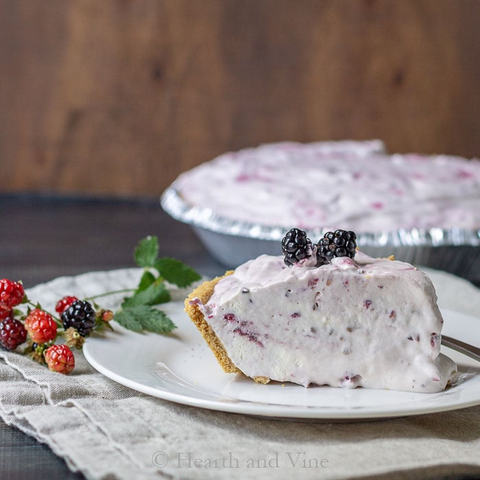 Slice of wild black raspberry ice cream pie.