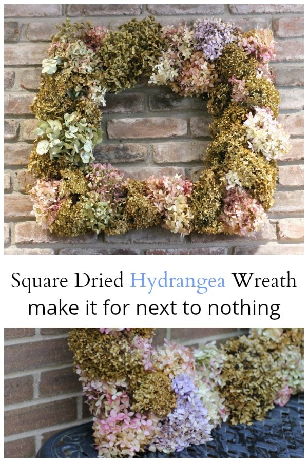 Square dried hydrangea wreath made with dried flowers and wire hangers.
