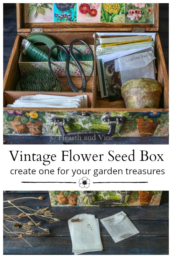 Collage of a handmade vintage garden seed box.