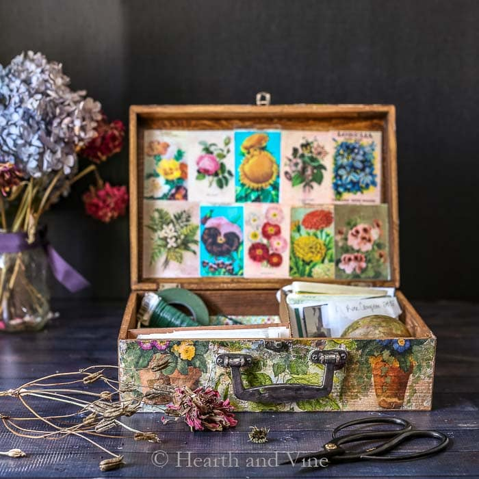 antique wooden seed box